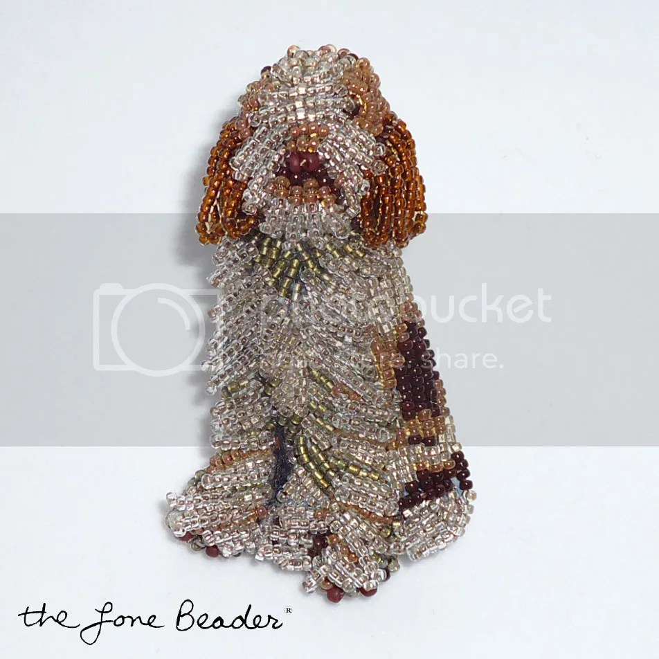 brown beaded spinone italiano dog pin pendant etsy beadwork beads jewelry custom
