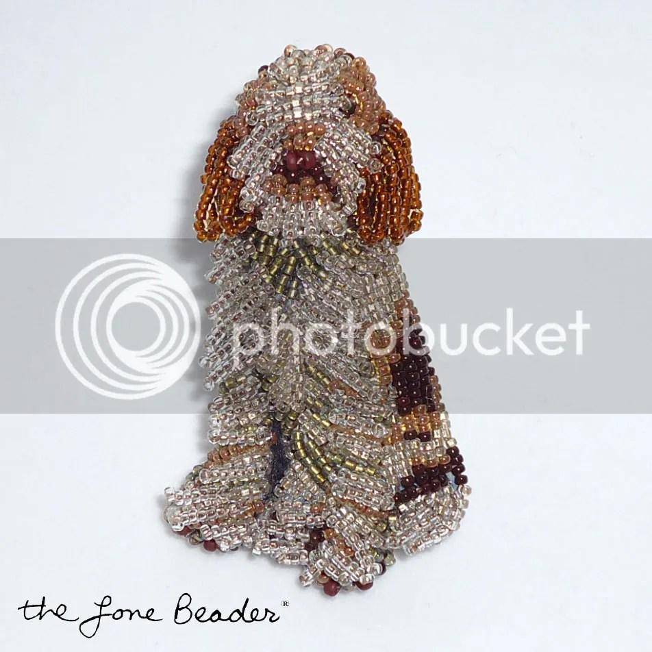 brown beaded spinone italiano dog pin pendant etsy beadwork beads jewelry custom