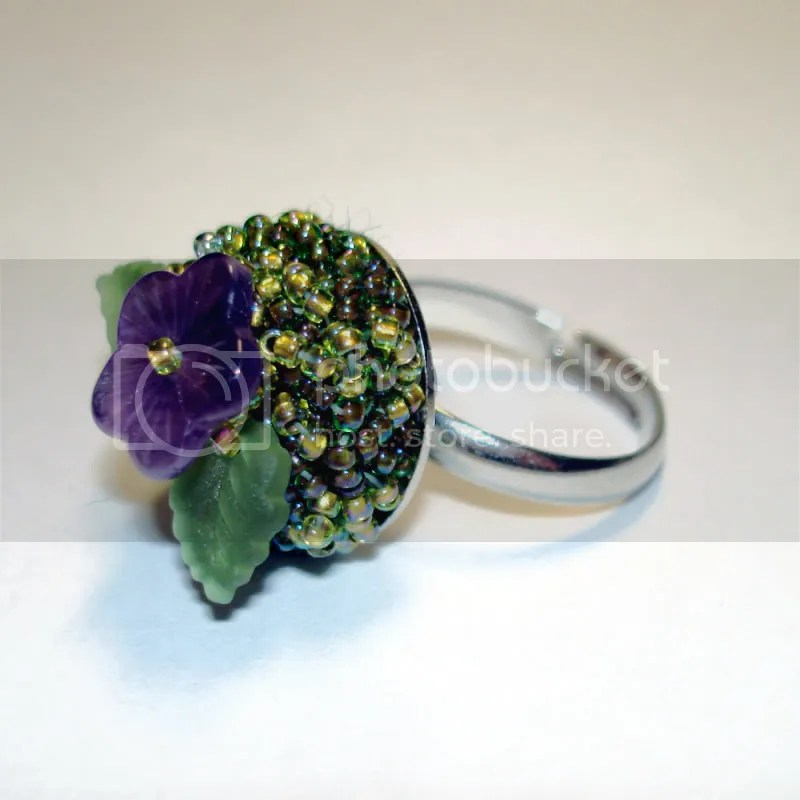 tiny beaded flower garden adjustable ring bead embroidery artist purple green