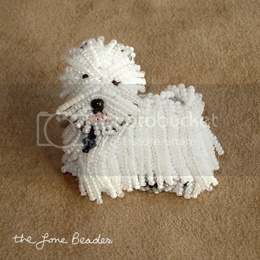 beaded westie dog pin pendant west highland white terrier etsy beadwork bead embroidery pet art