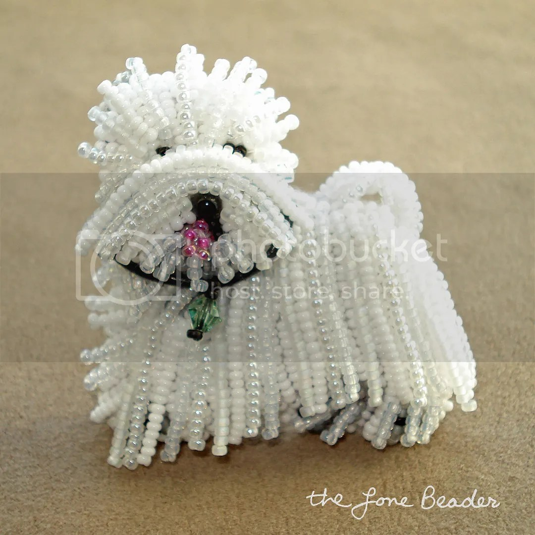 beaded Westie dog West Highland White Terrier pin pendant bead embroidery Etsy Christmas