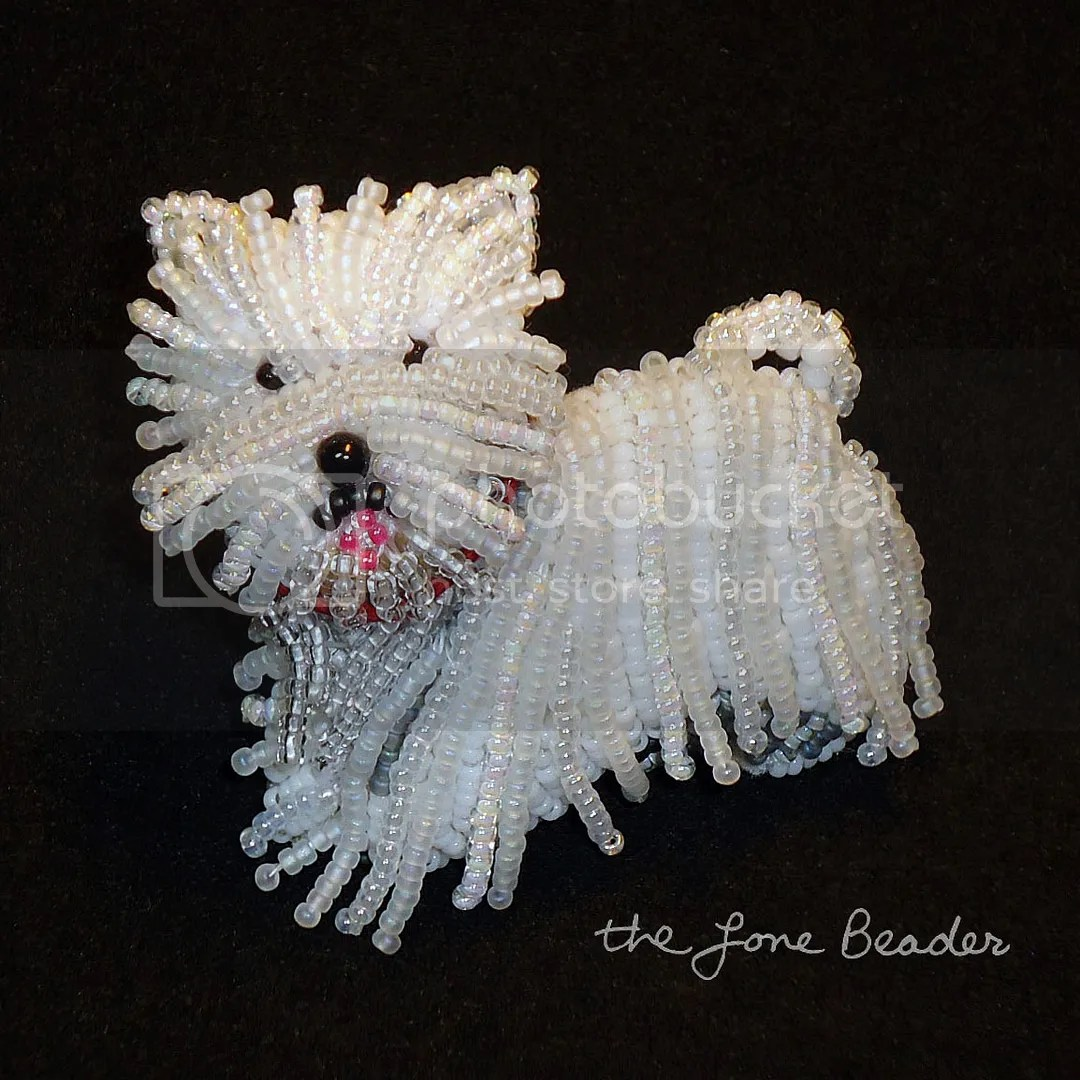 beaded Westie pin pendant West Highland White Terrier etsy bead embroidery art