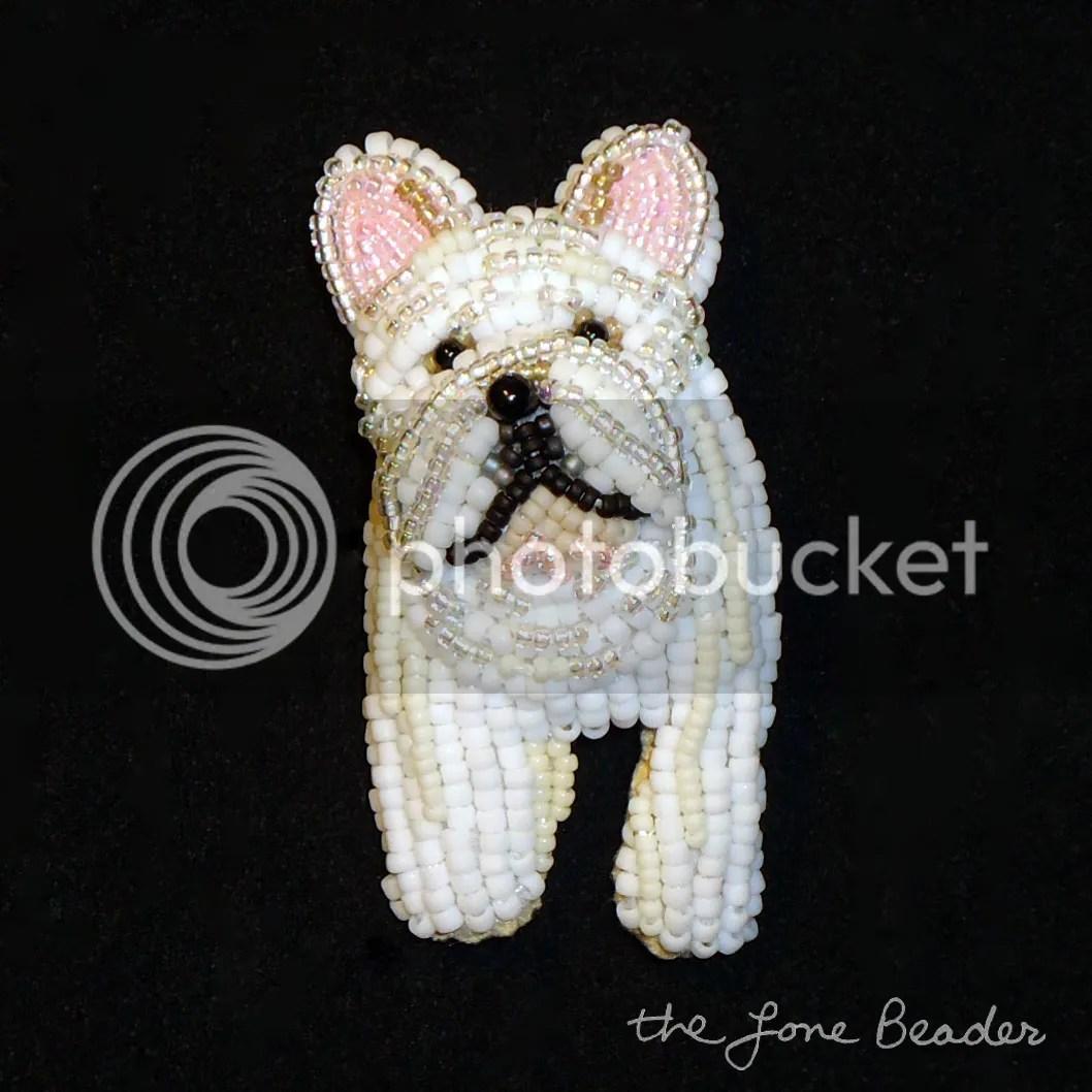 custom beaded French Bulldog pin pendant etsy bead embroidery dog art