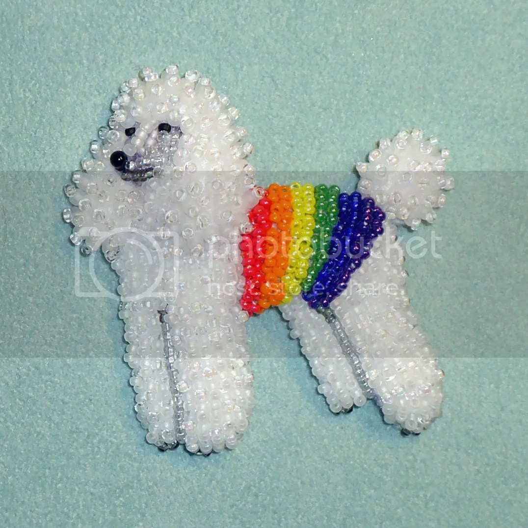 Bead embroidery white rainbow poodle gay pride LGBTQ community jewelry etsy beadwork Amazon Handmade dogs