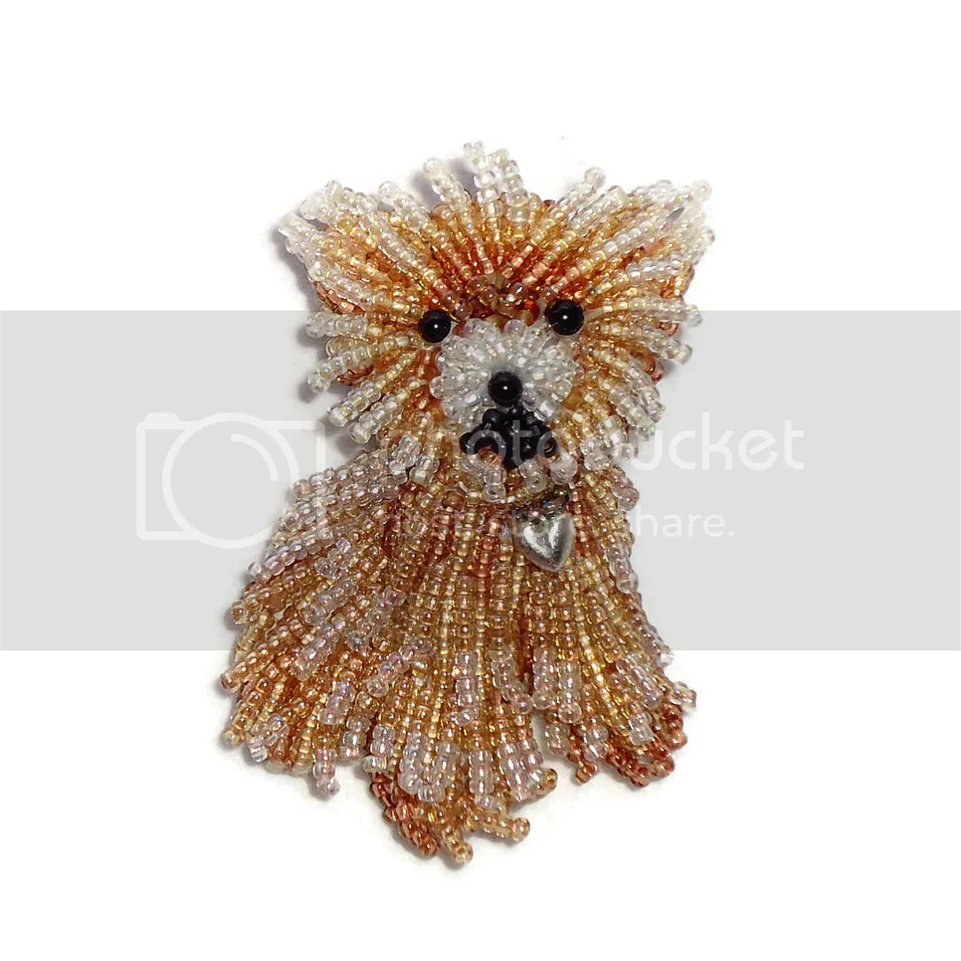 Custom Beaded Miniature Teacup Pomeranian pin pendant bead embroidery pet portrait beadwork beads art the lone beader