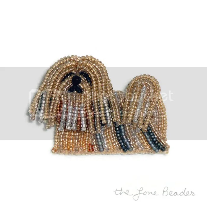 Beaded Lhasa Apso jewelry dog pin Etsy Columbus Day Sale beadwork akc bead embroidery pattern