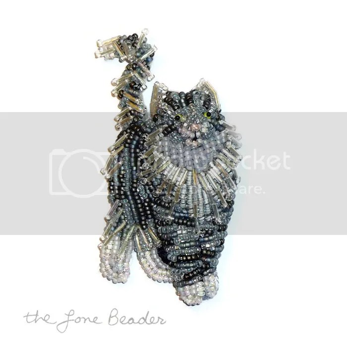 beaded norwegian forest cat pin gato cuentas perlas jewelry bead embroidery pendant etsy