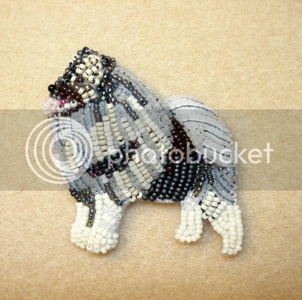 beaded keeshond bead embroidery beadwork etsy custom order seed bead fringe
