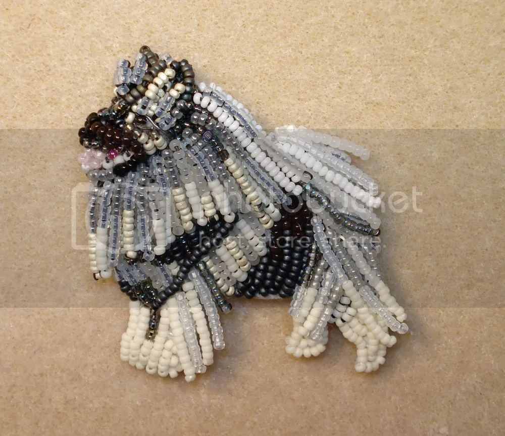 beaded keeshond dog bead embroidery pin pendant custom etsy order beadwork seed beads