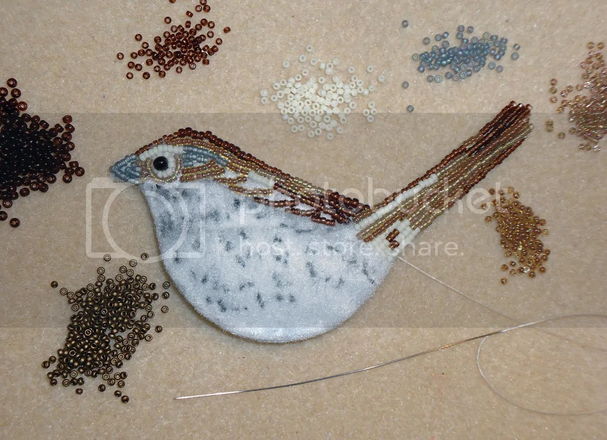 bead embroidery beadwork song sparrow bird Audubon Society mixed media painting
