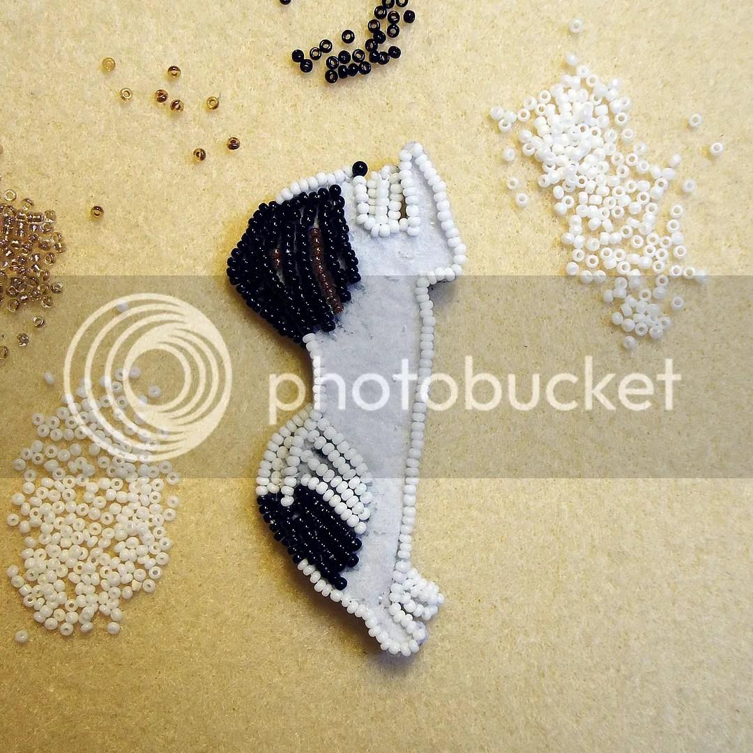 Standing Happy Papillon dog bead embroidery custom beaded pet pin etsy