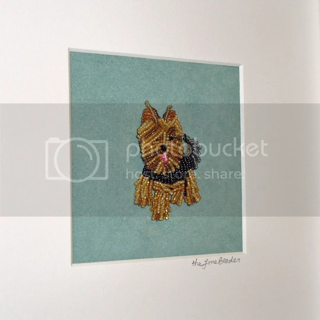 custom framedcustom framed beaded embroidery pet portrait Yorkie dog etsy beadwork art white shadowbox embroidery pet portrait Yorkie etsy beadwork art