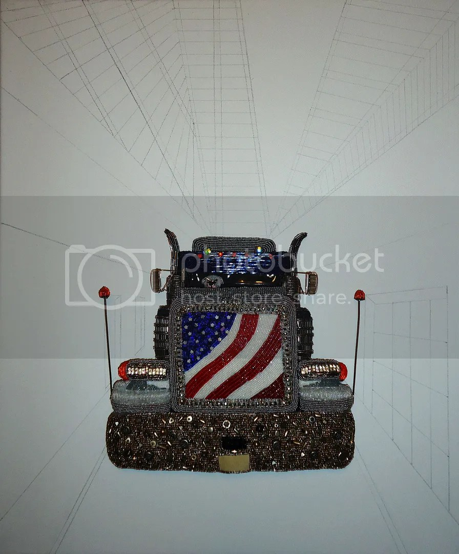 beaded peterbilt semi truck art sketch on canvas etsy bead embroidery painting
