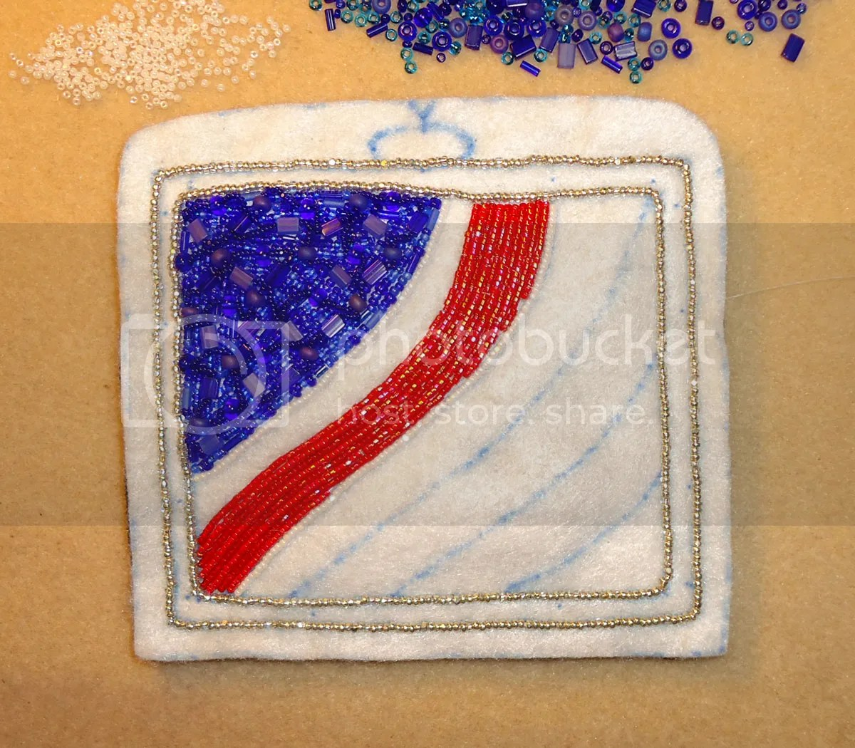 beadwork bead embroidery American Flag grille beaded Peterbilt tractor trailer