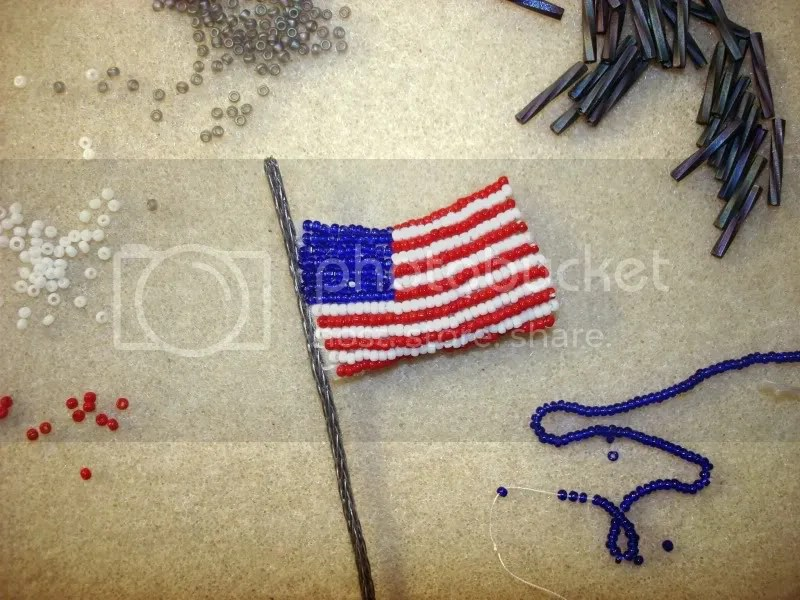 beaded White House flag President Barack Obama change Memorial Day pop art beadwork beading blog red white blue