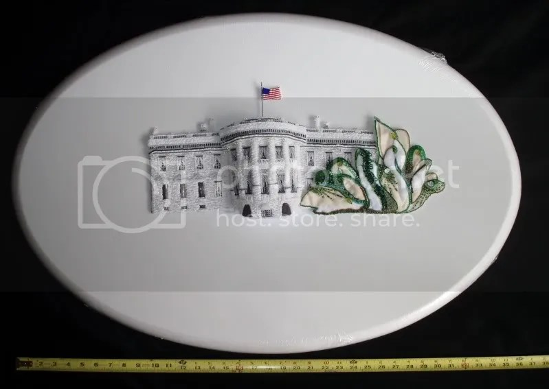 beaded White House east wing green trees Barack Obama pop art beadwork oval canvas bead embroidery blog
