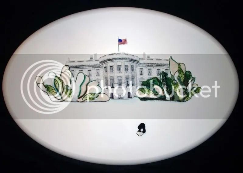beaded White House trees oval canvas pop art painting barack obama lone beader boston bead artist
