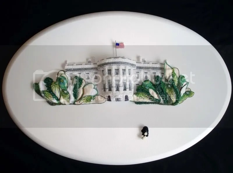 beaded White House trees oval canvas pop art painting barack obama first dog boston bead Portuguese water dog
