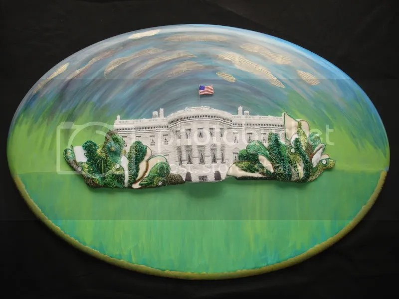 beaded White House green trees South Lawn pop art relief painting beading blog bead acrylics collage mixed media artist