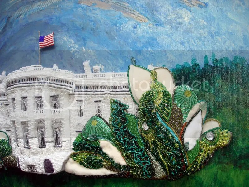 beaded White House Portuguese water dog impressionism Bo green trees Barack Obama pop art relief acrylics painting blog collage