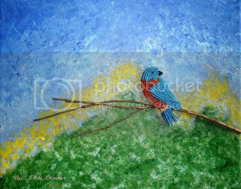 beaded eastern bluebird on branch white mountains NH nature art relief painting beading blog
