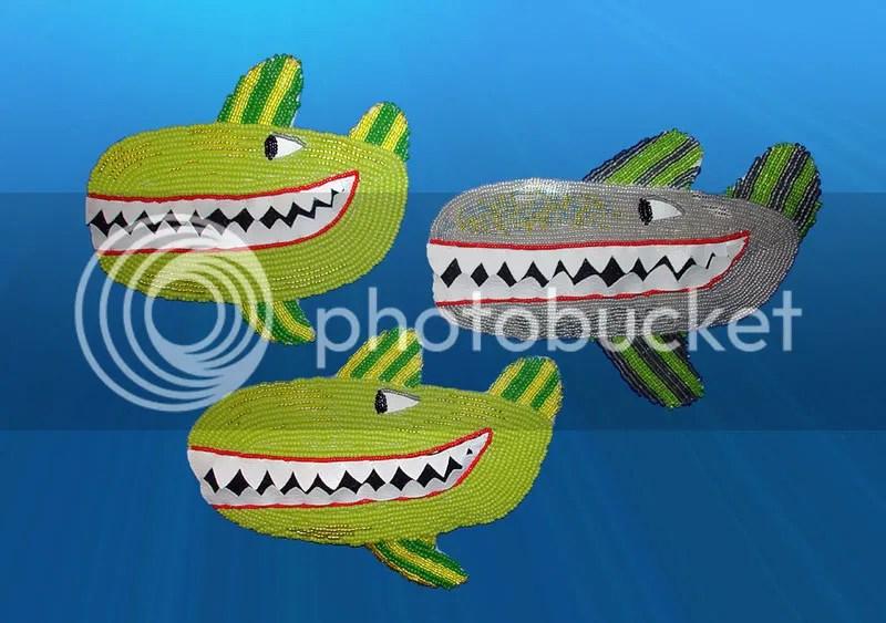 Beaded Beatles Yellow Submarine bead embroidery green whales Boston bead pop art gray killer revolution jaws