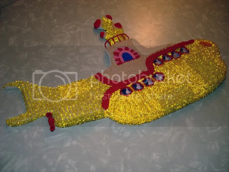 Beaded Beatles Yellow Submarine Pop art bead embroidery hijack propeller Boston beadwork beading Blue Meanies
