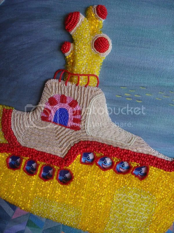 Beaded Beatles Yellow Submarine pop art Boston London bead embroidery Pepperland Hijack Beading magatamas