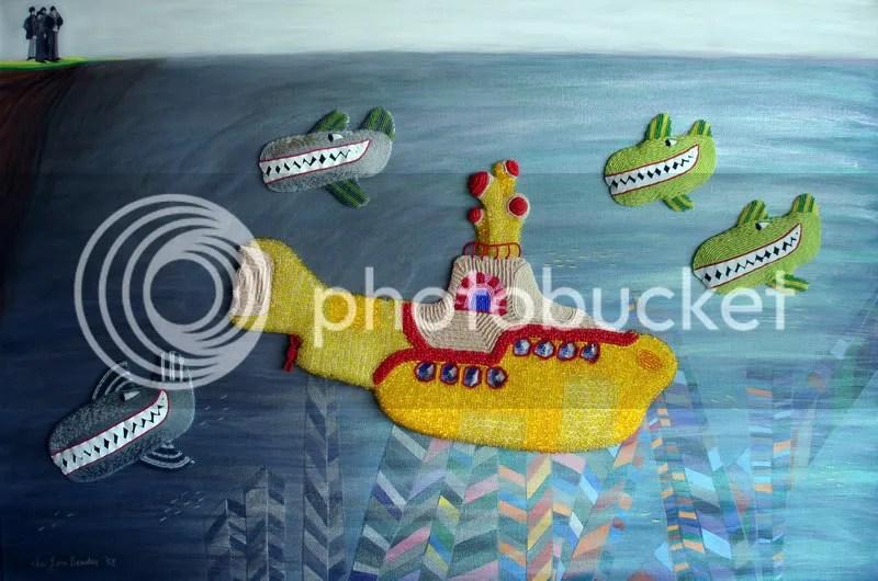 Beaded Beatles Yellow Submarine painting pop art London Pepperland Hijack sea of whales Blue Meanies beading
