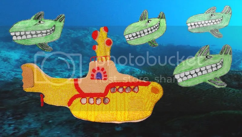 Beaded Yellow Submarine bead embroidery pop art Boston artist Beatles Blue Meanies painting