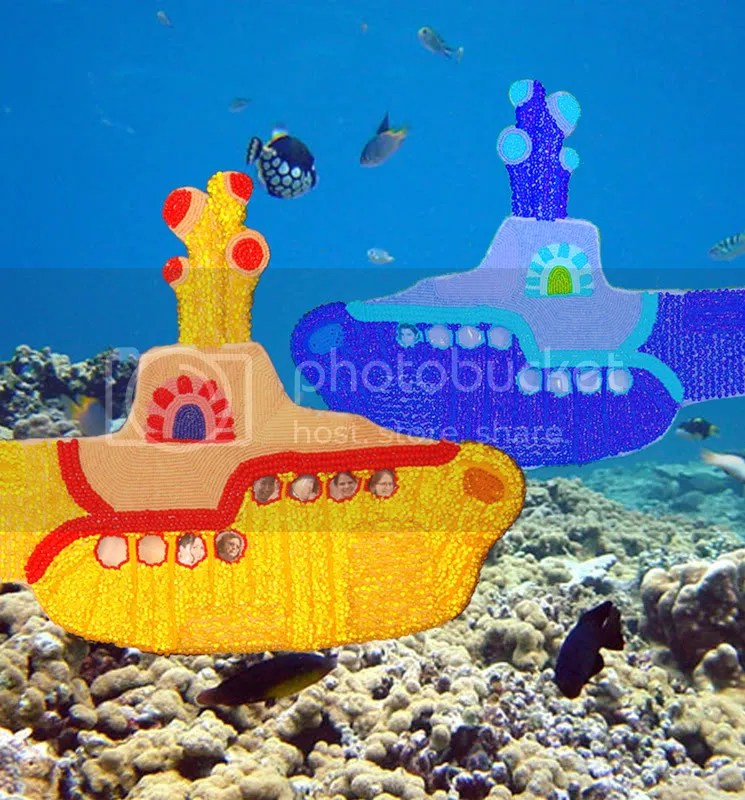 Beaded Beatles Yellow Submarine ocean motion Love me Do bead embroidery Valentine's Day crush Boston MA coral reef heart