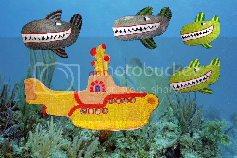Beaded Beatles Yellow Submarine Hey Bulldog bead embroidery Boston pop artist Sea of Whales London