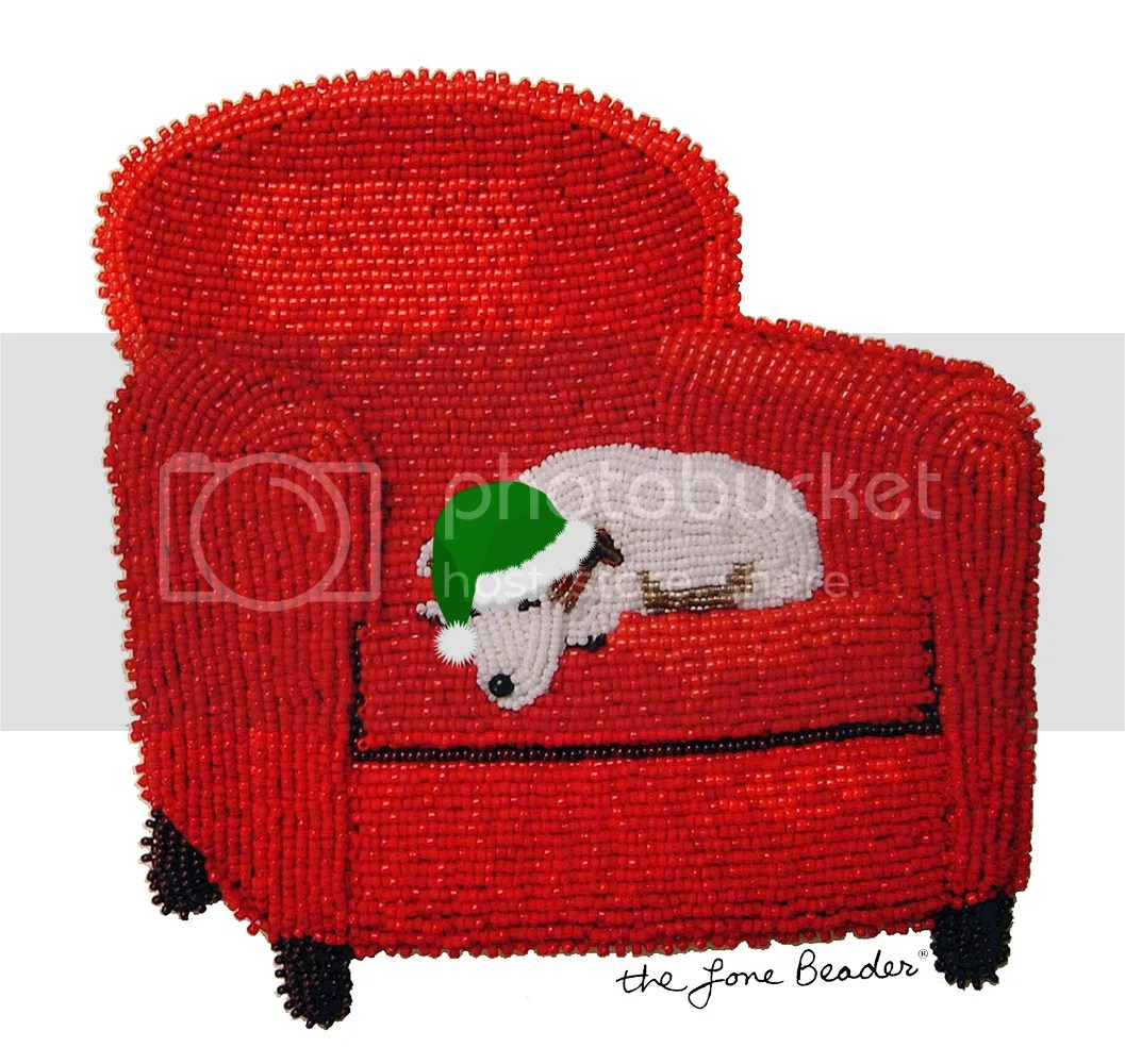 bead embroidery beadwork santa's helper hat Christmas Jack Russell Terrier beads etsy zazzle