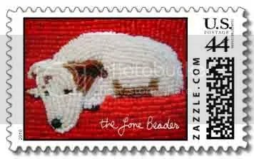 beaded postage stamps pickup truck Datsun Jack russell terrier great blue heron zazzle gifts thelonebeader etsy