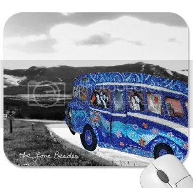 beaded psychedelic blue bus The End lone beader zazzle shop shopping beadwork bead embroidery art prints