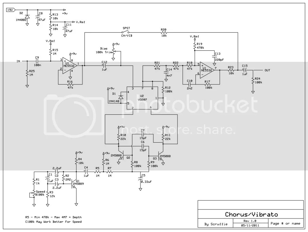 hight resolution of flanger guitar effect diagram