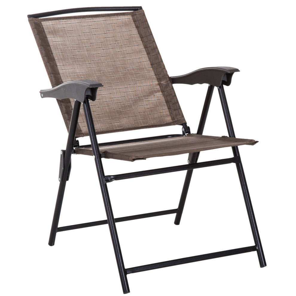 Patio Folding Chairs Outsunny 3 Piece Metal Patio Furniture Set Folding Chairs Tempered Glass Table Portable Adjustable Backrest Brown