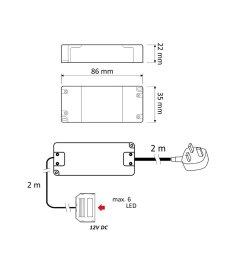 led transformer with wires power supply driver 240v dc 12v 7w for led lights  [ 990 x 990 Pixel ]
