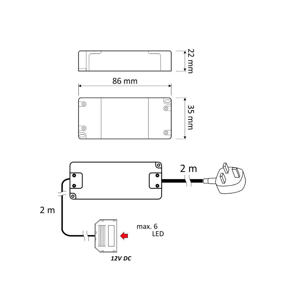 medium resolution of  led transformer with wires power supply driver 240v dc 12v 7w for led lights