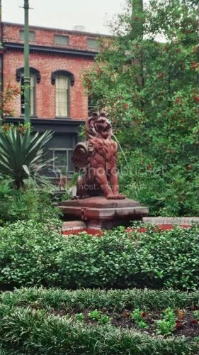 an antebellum fountain in Savannah. Complete with a lion.