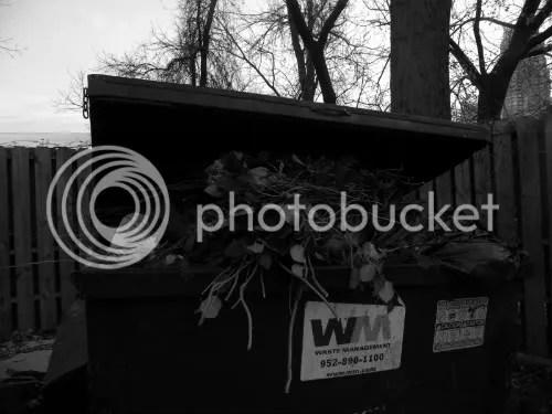 dumpster full of flowers