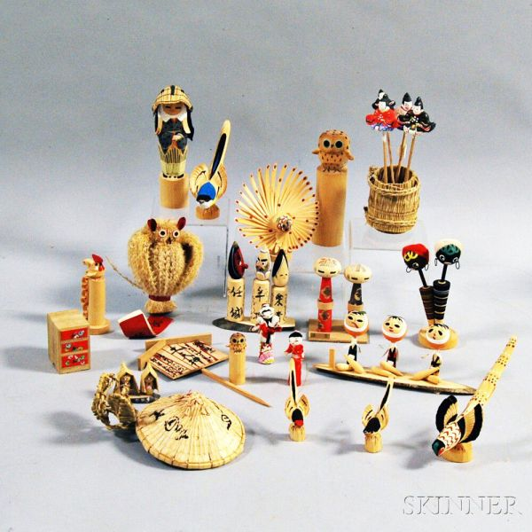 Twenty- Japanese Folk Art Mingei Birds Dolls And Toys