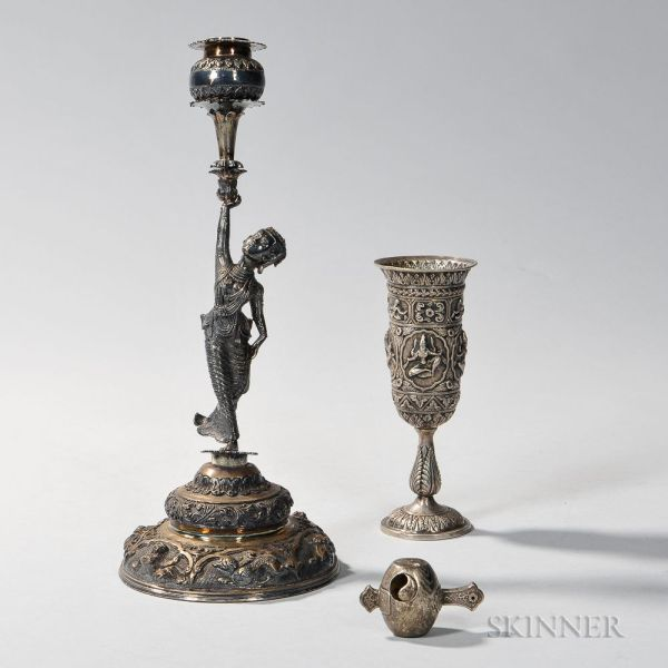 Southeast Asian Silver Figural Candlestick Number