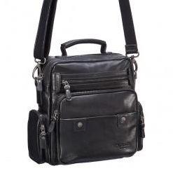 Мужская черного цвета сумка с большим количеством карманов и плечевым ремнем Dr.Koffer M402425-125-04