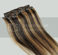 clip in 100% remy real human hair extensions black blonde ...
