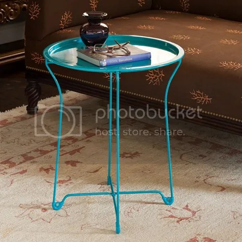 Vintage Metal Side Table Tray Removable Round Room Coffee