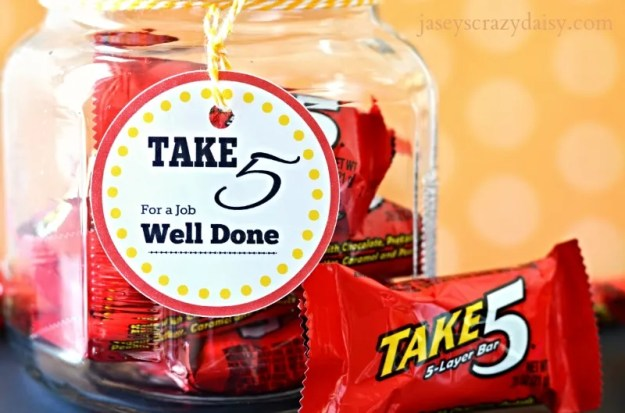 Take 5 For A Job Well Done Printable Tags