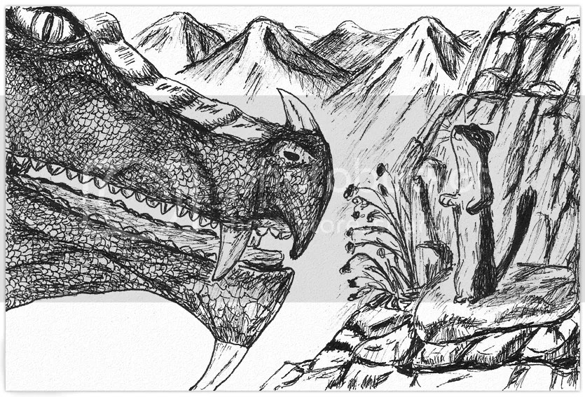 The Weasel and his new friend, the Dragon. Drawing in ink on paper by Robby das Wiesel.