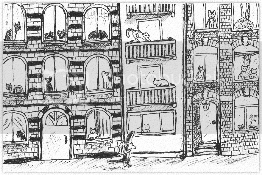 The Weasel walking on his way to work. In the buildings, in every window are cats sitting. Drawing in ink on paper by Robby das Wiesel.