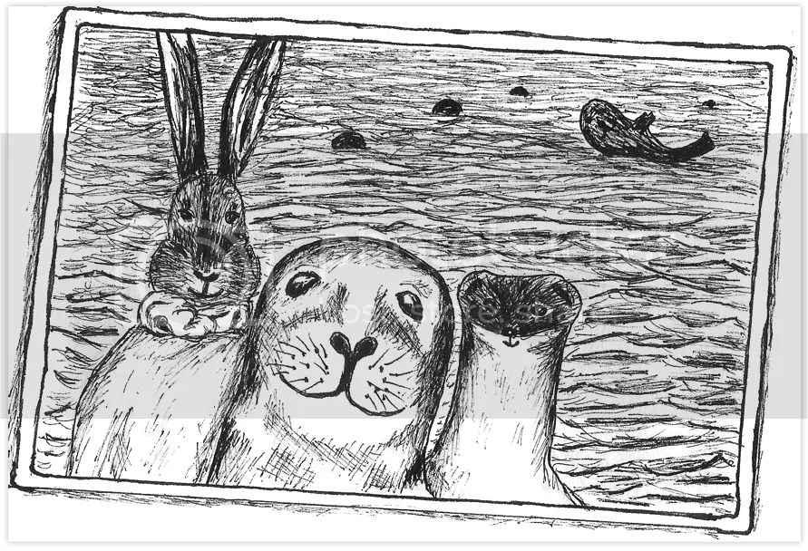 The Bunny and The Weasel taking a selfie with a Seal. Drawing in ink on paper by Robby das Wiesel.